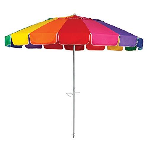 New 8' Beach Umbrella UV Protected Vented Outdoor Beach Shade Sand Anchor Carry Bag Tilt Aluminum Pole Rainbow (8', Rainbow)
