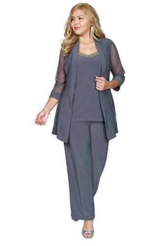 R&M Richards Long Formal Plus Size Pants Suit (18W, Charcoal)