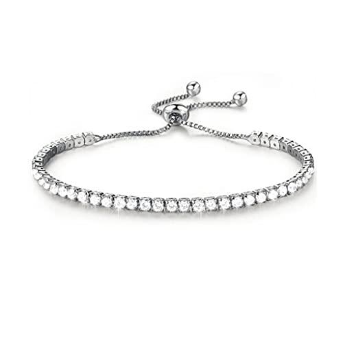 Branets Pulsera de cristal brillante de plata brillante con diamantes de imitación de imitación, ajustable para mujeres y niñas