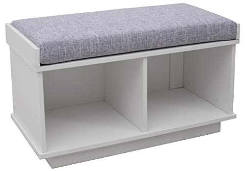 Amazon Brand – Ravenna Home Upholstered Entryway Cushioned Storage Bench - 31 1/2-Inch, White
