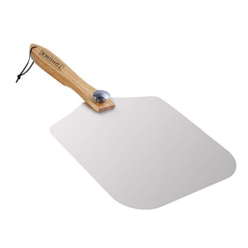 "Premium Aluminum Pizza Peel With Foldable Oaken Handle, 12"" x 14"", Convenient To Store, Good Helper For Baking, Homemade Pizza And Bread"