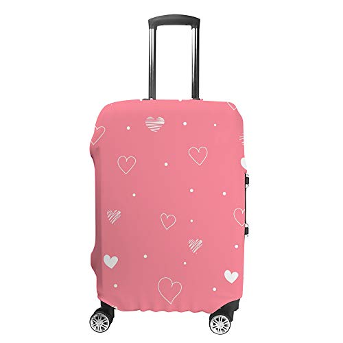 CHEHONG Suitcase Cover Luggage Cover Pink Valentine's Day White Hearts Travel Trolley Case Protective Washable Polyester Fiber Elastic Dustproof Fits 29-32 Inch