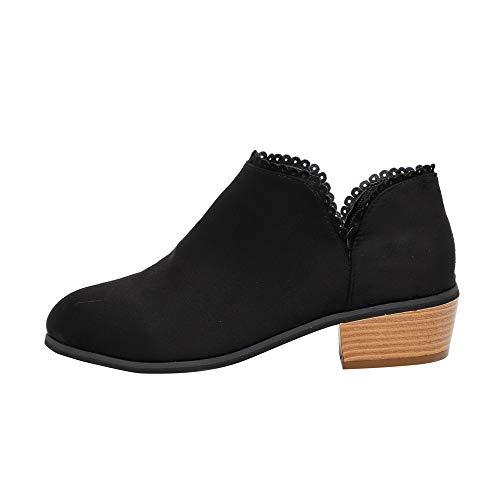 ZODOF Botines De Encaje Botas De Mujer De Moda Punta Redonda Navidad Boots Classic Botines Zapatos Casuales ⭐