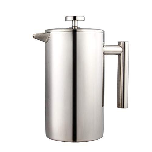 Vobajf Caffettiere a pistone Doppio-Strato dell'Acciaio Inossidabile 304 Francese Pressione Pot di effettuare pratiche delle Famiglie Teapot cafetieres (Colore : Stainless Steel, Size : 800ml)