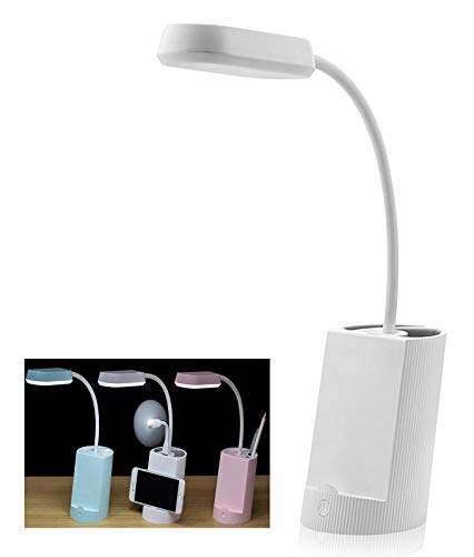 LED Desk Lamp with USB Charging Port, Pencil and Phone Holder Multi-Functional Study and Reading Lamp for Bedroom and Office with 3 Modes of Brightness - White