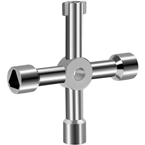 Llave de tubo de escape de radiador, llave abierta de cuatro vías multifunción, para el hogar, medidor de gas, armario, color plateado