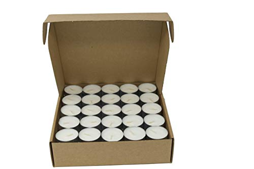 Coraz Home 75 Stück natürliche, geruchlose Teelichter 100% Rapswachs paraffinfreie Brenndauer 6-7 Stunden in Aluminiumbecher umweltfreundlich (75 Stück Kraftkarton aus Pappe)