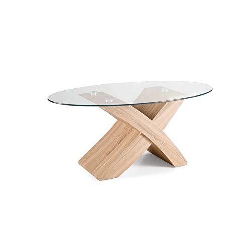 Mocada Tito Tavolino da Salotto in Legno e Cristallo Ovale Soggiorno Design - Rovere Well