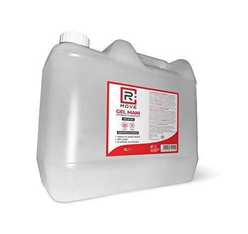 RMOVE gel igienizzante mani antibatterico 5 litri 70% ALCOL disinfettante mani profumato al limone arricchito con olii essenziali di Aloe e Timo tanica 5 litri