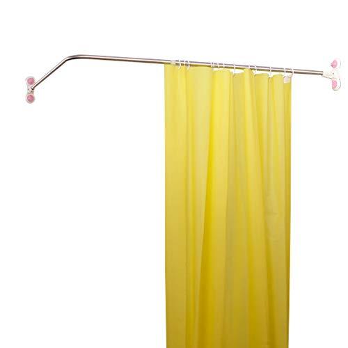 Hershii Curved Corner Shower Curtain Rod Wall Mounted L-Shaped Bathroom Curtain Hanger Pole Decorative Extendable Bathtub Metal Shower Rail Bar 40.15'' x 46.45 ''- 70.86''