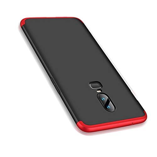 OnePlus 6 Hülle, Ultra Dünn 3 in 1 Schutzhülle 360 Grad Komplettschutz Case, Anti-Slip, Kratzer Hart PC Skin Rückdeckel Schutzhülle für One Plus 6 (OnePlus 6, Rot + Schwarz)