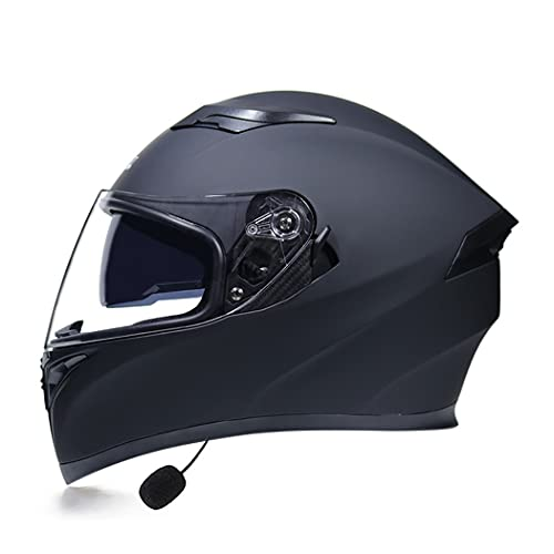 Smilfree Integrado Casco Bluetooth Motocicleta para Mujeres Y Hombres Casco Motocicleta Casco Integral para Scooter con Visera Solar Doble Casco para Scooter Aprobado por Dot/ECE (57~64CM)
