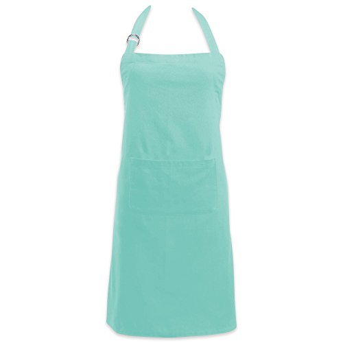 DII Adjustable Neck & Waist Ties with Front Pocket, 32x28 Apron Chino Chef Collection, Aqua