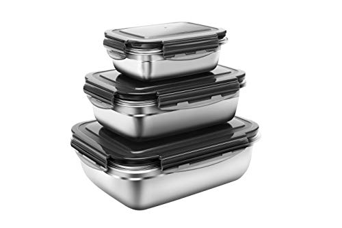 18/8 Stainless Steel Food Storage Container 3pcs set (61oz - 29oz - 12oz)- Leak-Proof Large Durable Lunch Bento Box for Kimchi, Fruit and Salad -Home family, Picnic,Camping or Outdoor - G.a HOMEFAVOR