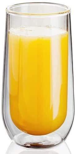 mxjxj Doble Pared Highball Vasos, Juego de 2 Hueco vacío sellada, 330 ml Cóctel de Vidrio Alto, Hecha a Mano, Resistente al Calor, Caja Fuerte del lavaplatos, 10 años de garantía