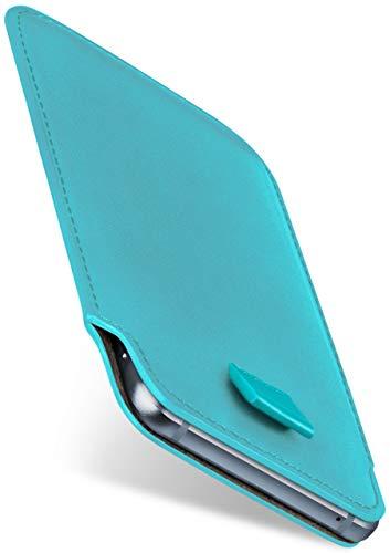 moex Slide Hülle für BlackBerry Z10 - Hülle zum Reinstecken, Etui Handytasche mit Ausziehhilfe, dünne Handyhülle aus edlem PU Leder - Türkis