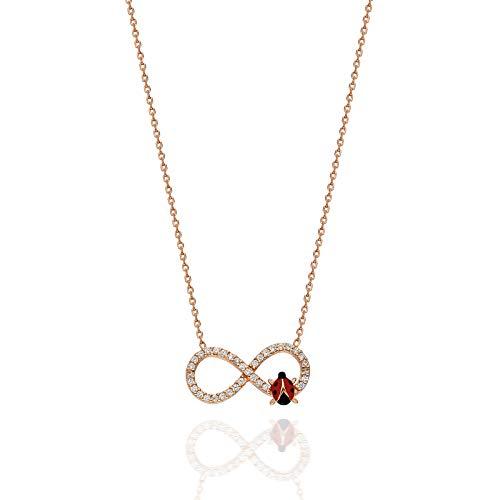 Collar de plata con colgante de mariquita con símbolo de infinito y mariquita.