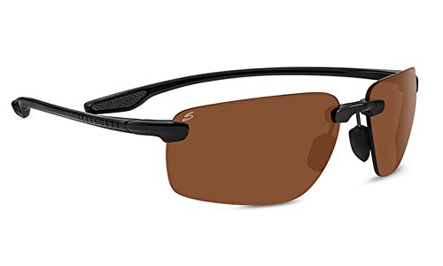 Serengeti Erwachsene Erice Sonnenbrille, Shiny Black, Medium/Large