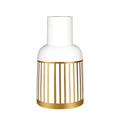 HCHLQLZ 20.5cm Blanco Dorado Decorativos Modernos Ceramica Jarrones de Flores para Mesa de Comedor Sala de Estar Idea Regalo para Cumpleaños Boda Navidad