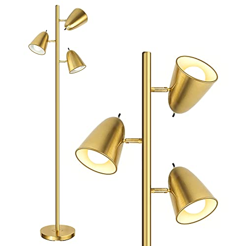 """Qimh Industrial Floor Lamp with 3 Light Bulbs, 64"""" Tall Pole Lamps with 3 Adjustable Arms and 3 Independent switchs, 75"""" Wire Reading Standing Lamps for Living Room, Bedroom, Office,Brushed Gold"""