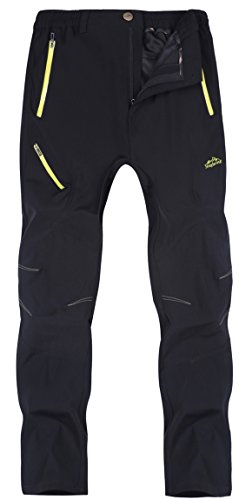 KAISIKE Men's Outdoor Quick-Dry Hiking Pants Waterproof Lightweight Pants(Bo-M05-Black-L)