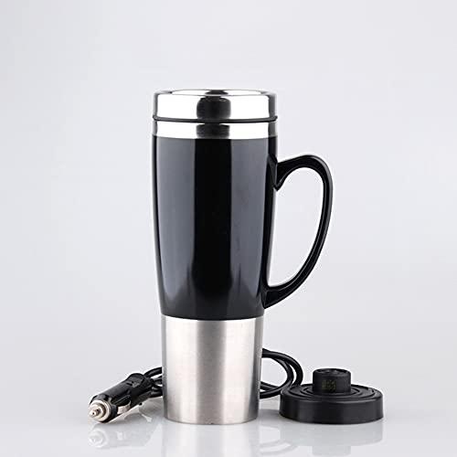 KIMISS 450ML 12V Auto Wasserkocher Tasse Edelstahl Reise Heizung Tasse Becher Heißer Kaffee Tee Trinkbecher Becher Schwarz(12v)