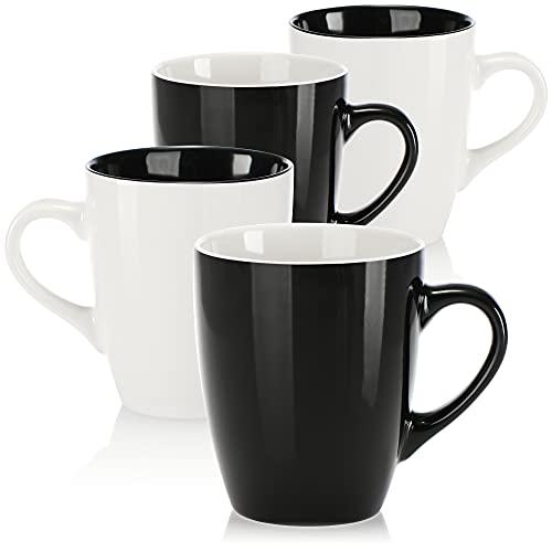 com-four® 4x Kaffeebecher aus Keramik - Kaffee-Tasse in modernem Design - Kaffeepott für Kalt- und Heißgetränke - 350 ml (04 Stück - schwarz/weiß)