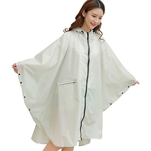 YUHANG Chubasquero impermeable para mujer, ligero chubasquero con capucha reutilizable para senderismo, actividades al aire libre, ropa de lluvia para adultos, Blanco, extra-large