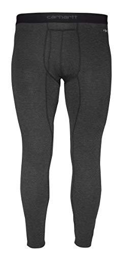 Carhartt Base Layer Men's Base Force Heavyweight Polyester-Wool Bottom, Black Heather, Large
