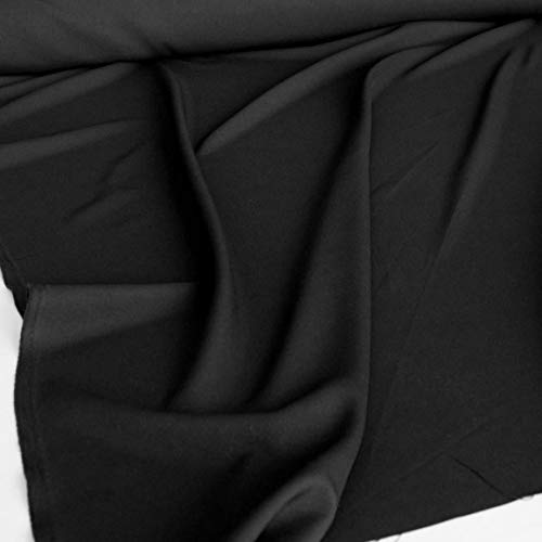 TOLKO Modestoff | Dekostoff universal Stoff zum Nähen Dekorieren | Blickdicht, knitterarm | 150cm breit Meterware (Schwarz) Bekleidungsstoffe Dekostoffe Vorhangstoffe Baumwollstoffe Basteln Patchwork