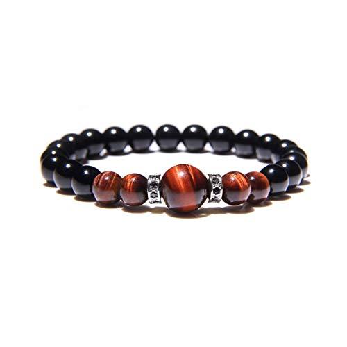 Pulsera de cuentas de equilibrio tibetano en ojo de tigre rojo y piedra natural de ónice negro, con diseño de curación de chakra y yoga y acabado con detalles de abalorios de cristal plateado incrustados