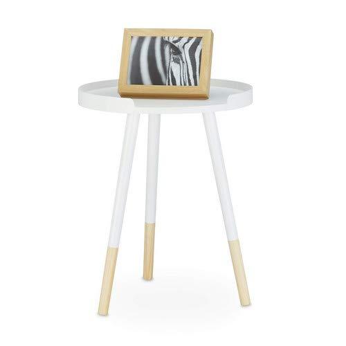 Relaxdays Beistelltisch skandinavisches Design, 70er, Nachttisch mit Rand, dreibeinig, H x B x T: 49 x 40 x 40 cm, weiß