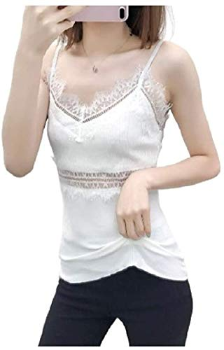 MU2M Women Cotton Tank Tops Summer Lace Solid Color Sexy Strap Thin Hollow White One Size
