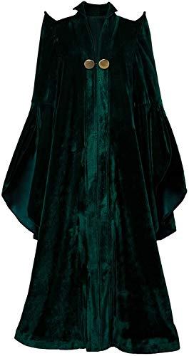 For us Womens Halloween Professor McGonagall Cosplay Costume Wizard Sorceress Cloak Robe Witch Hat Green