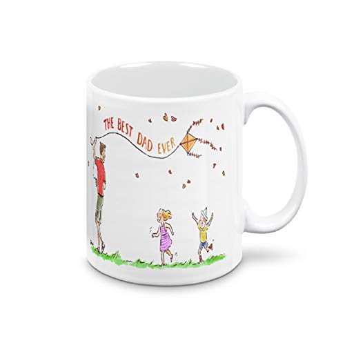 Taza Día del Padre. Taza de desayuno para papá. Idea regalo para el Día del Padre. Taza certificada Mug 325 ml de cerámica ultra blanca (Best Dad Ever)