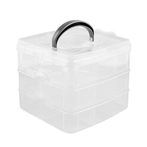 HPiano Aufbewahrungsbox mit Tragegriff,mit 3 Ebenen Transparent, Stapelbare Box mit 30 verstellbaren Trennern für Perlen, Schmuck, Kosmetik ideal zur Aufbewahrung und Organisation