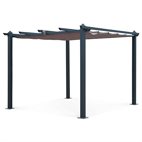 Pergola, Aluminio, Marron Pardo, 3x3 m