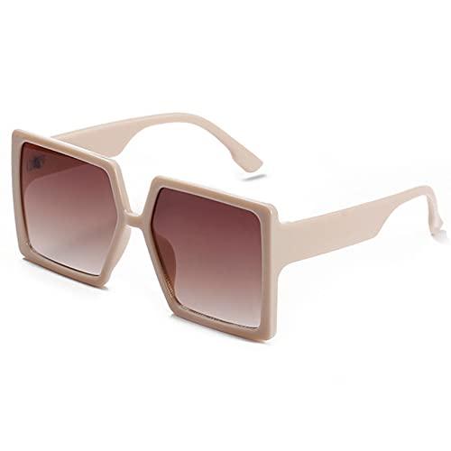 LUOXUEFEI Gafas De Sol Gafas De Sol De Montura Grande Para Mujer, Gafas De Sol Cuadradas Negras Para Mujer