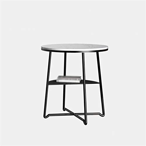 A-Yan-Q-Home Office Furniture Home Magazine Table, Double Layer Artificial Marble Countertop Metal Small Round Table For Sofa Side Living Room Coffee Table Pedestal Tables