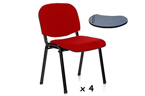 2x - Silla confidente para oficina con brazo pala apilable para escritura