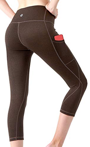 MYoga Women's Yoga Pants Workout Leggings Running Tights w Side Pockets (L, Short_Black)