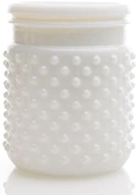 Floral, White Hobnail Jar 4x5