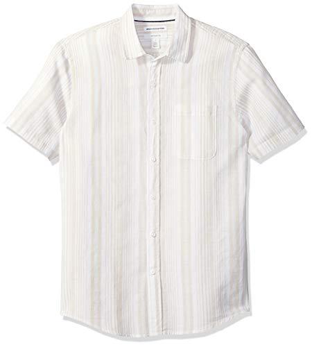 Amazon Essentials – Chemise à manches courtes et coupe ajustée en lin pour homme, Natural Stripe, US S (EU S)