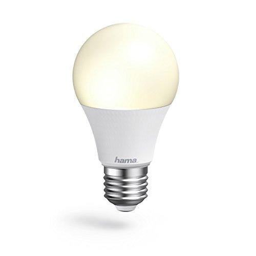Hama E27 Wi-Fi LED-Lampe, 10W (ohne Hub, dimmbar, gesteuert via Alexa/Google Home/App, 2,4GHz, warm-/neutral-/tageslichtweiß) WLAN Lampe, Echo/Echo Dot/Echo Spot/Echo Plus/Echo Show kompatibel