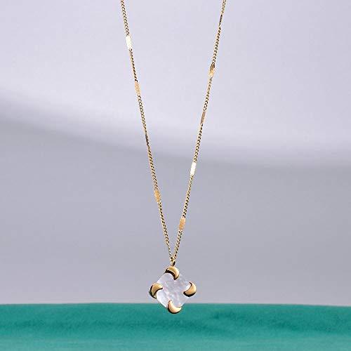 SWAOOS Acero Inoxidable Oro Cuadrado Espiral Mujeres Colgante Collar Vintage Opal Piedra Collares Joyería Regalo para Él