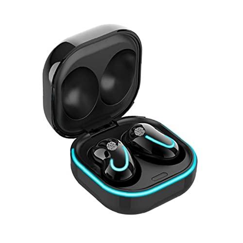 Runfon Auriculares Bluetooth 5.1 inalámbrico Auriculares Manos Libres Auricular Portable Impermeable con Estuche Cargador para el teléfono Negro