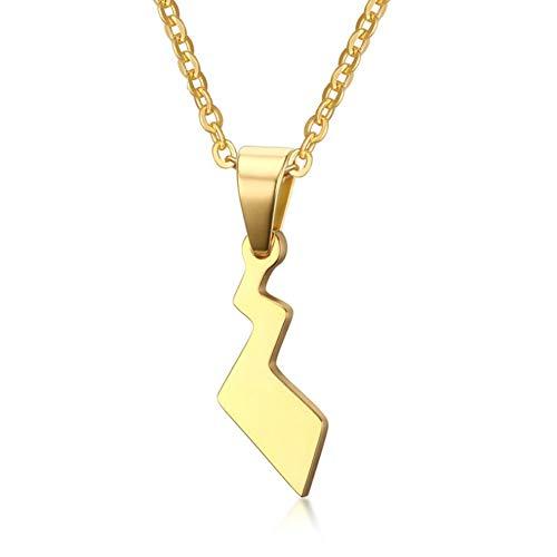 Collar de hombre 25.5CM Colgante de cola de Pikachu de acero inoxidable Elegante y delicada Cadena de inmersión de duende para mascotas 11MM * 25.5CM Amigos (Color: dorado)-gold-One size