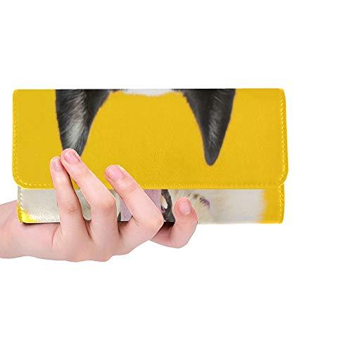 Einzigartige benutzerdefinierte Adorable rettungshund Zwei unterschiedlich farbige Frauen Trifold Brieftasche Lange geldbörse kreditkarteninhaber Fall Handtasche