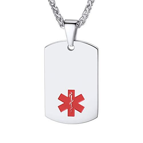 Custom4U Símbolo Cruz Roja Acero Inoxidable Plata Collar de Identificación Joyería de Emergencia SOS para Hombre y Mujer y Niños Alarma
