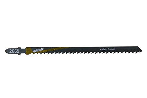 Wolfcraft 2669000 - 2 hojas de sierra vástago en T / HCS / madera dura, planchas de virutas, madera contrachapeada / cortes bastos 125 mm